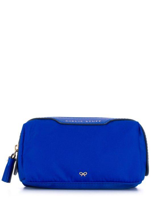 Anya Hindmarch logo zipped cosmetic bag - Blue - Anya Hindmarch