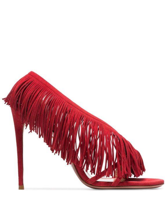 Aquazzura Wild Fringe 105mm sandals - Red - Aquazzura