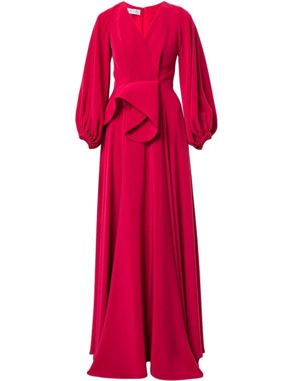 Azzi & Osta V-neck draped waist gown - Red - Azzi & Osta