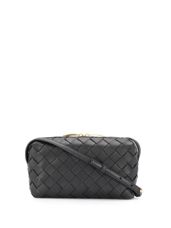 Bottega Veneta mini Intrecciato crossbody bag - Black - Bottega Veneta