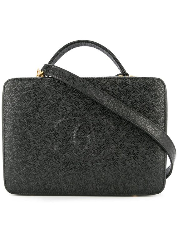 Chanel Pre-Owned 1997-1999 2-way Cosmetic Vanity Hand Bag - Black - Chanel Pre-Owned