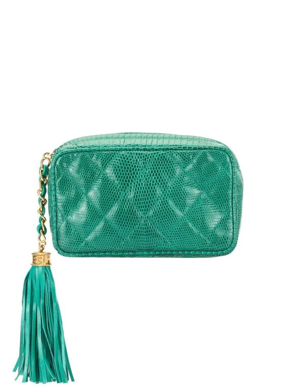 Chanel Pre-Owned quilted cosmetic pouch - Green - Chanel Pre-Owned