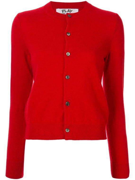 Comme Des Garçons Play crew neck buttoned cardigan - Red - Comme Des Garçons Play