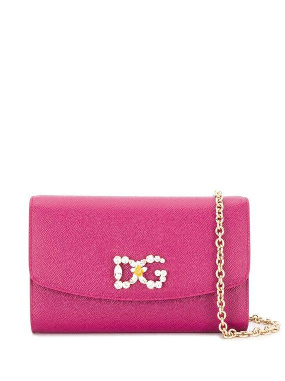 Dolce & Gabbana crystal-embellished logo clutch - PINK - Dolce & Gabbana