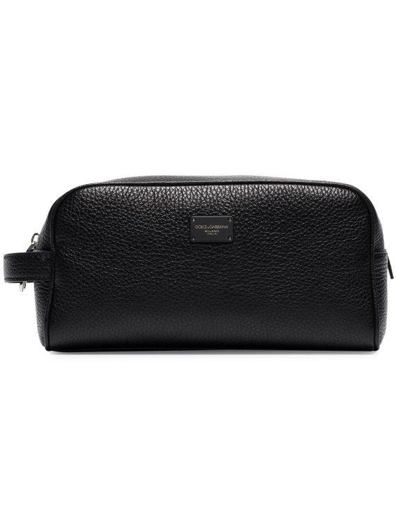 Dolce & Gabbana pebbled-texture wash bag - Black - Dolce & Gabbana