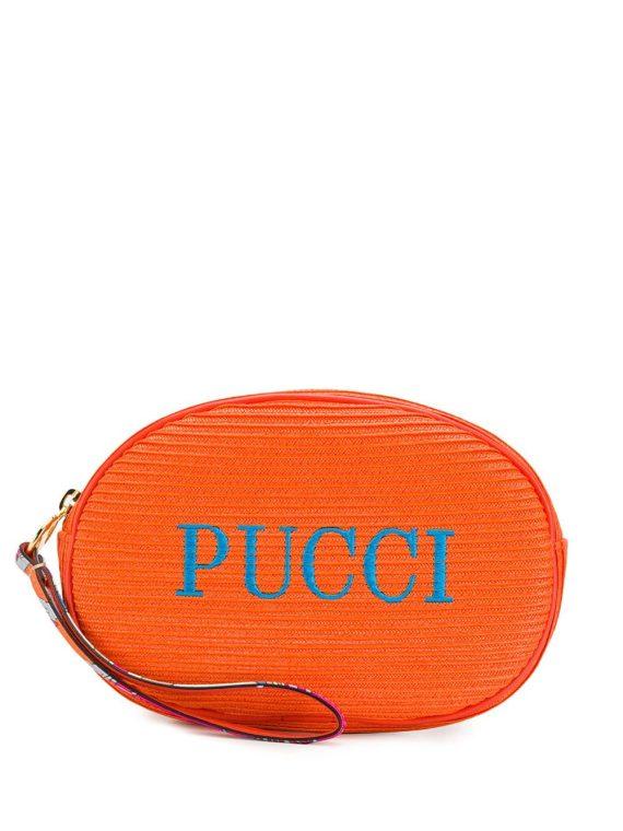Emilio Pucci embroidered logo cosmetic bag - 514-ARANCIO - Emilio Pucci