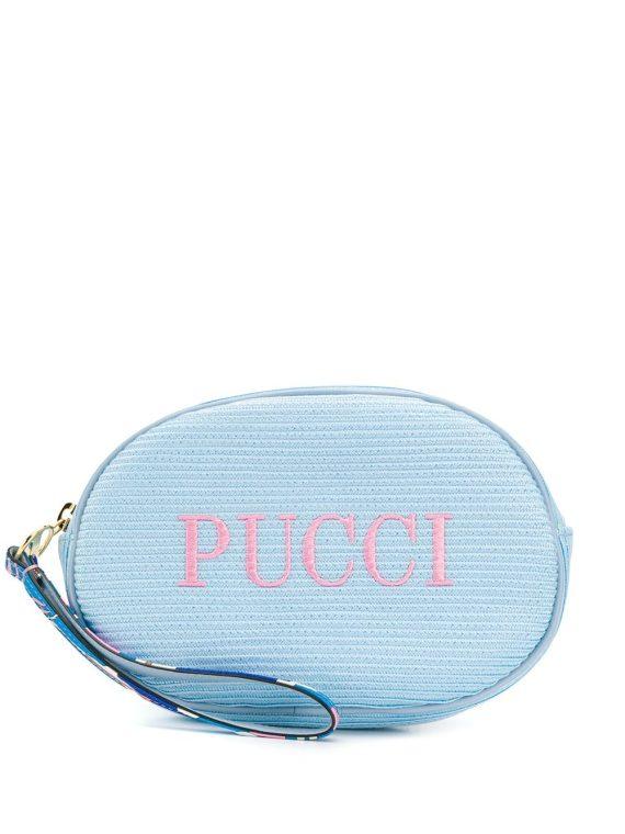 Emilio Pucci logo embroidered cosmetic bag - Blue - Emilio Pucci