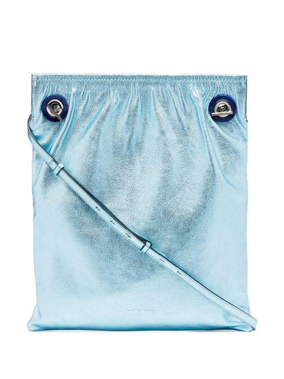 GANNI metallic tote bag - Blue - GANNI