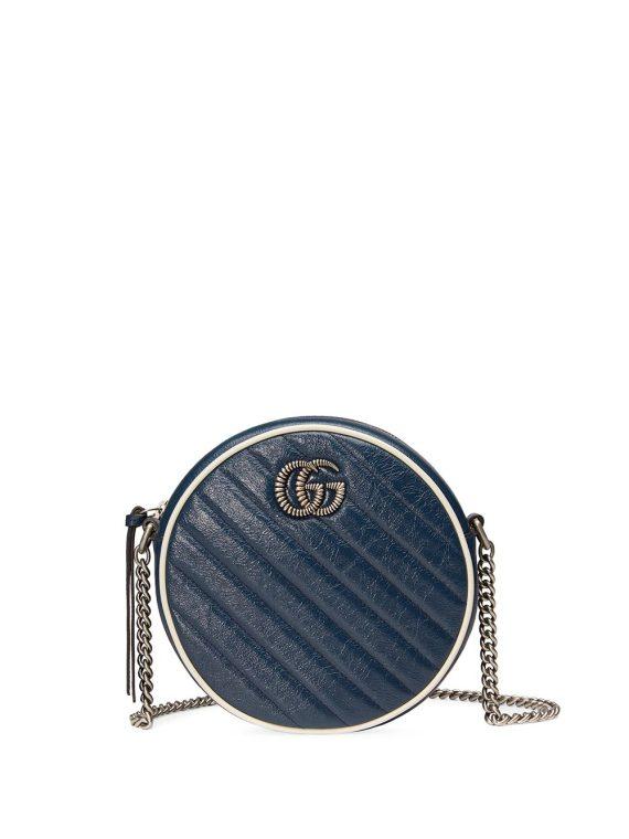 Gucci GG Marmont mini round shoulder bag - Blue - Gucci
