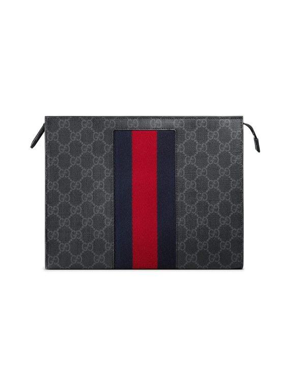 Gucci GG Supreme Web cosmetic case - Black - Gucci
