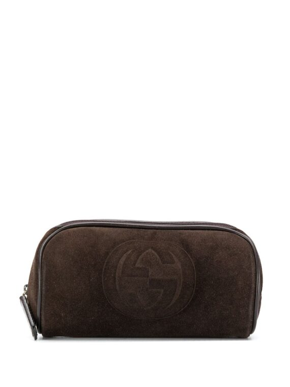 Gucci Pre-Owned 2000 embossed logo cosmetic pouch - Brown - Gucci Pre-Owned