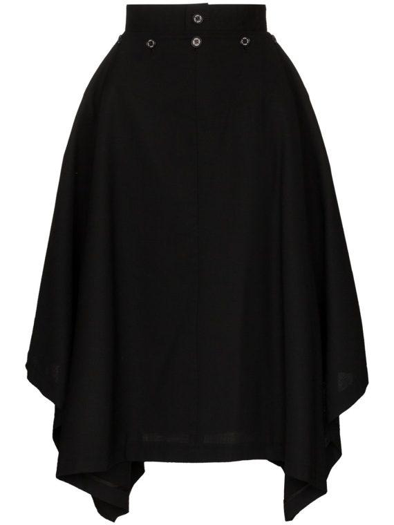 Hyke Aline high-waist midi skirt - Black - Hyke
