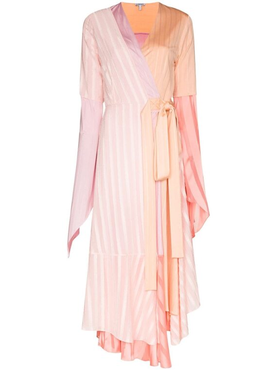 Loewe asymmetric pleated midi dress - PINK - Loewe