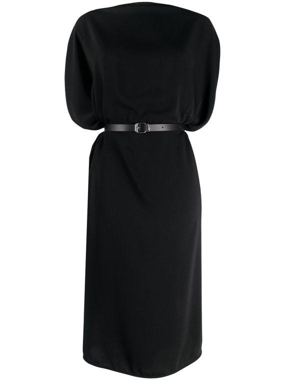MM6 Maison Margiela belted draped midi dress - Black - MM6 Maison Margiela