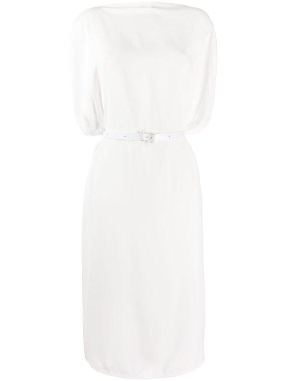MM6 Maison Margiela belted draped midi dress - White - MM6 Maison Margiela