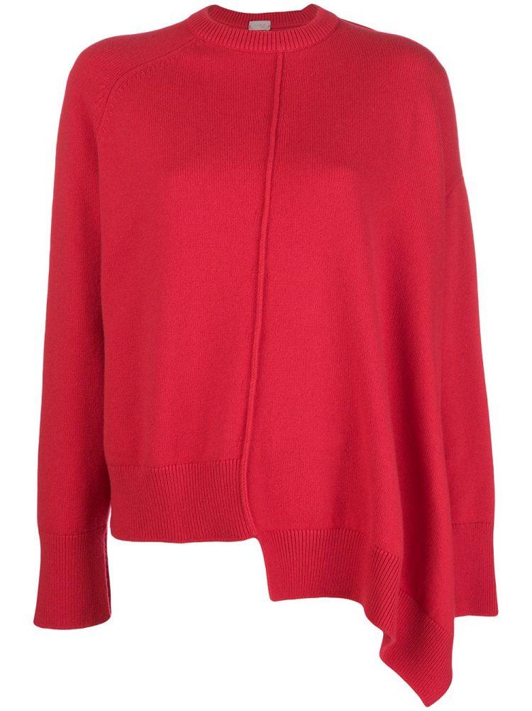 MRZ asymmetric crew neck sweater - Red - MRZ