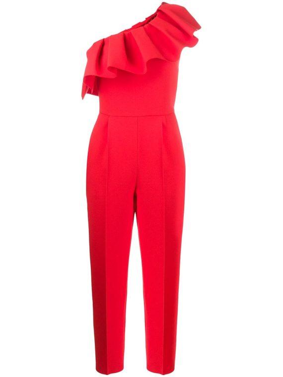 MSGM asymmetric ruffled jumpsuit - Red - MSGM
