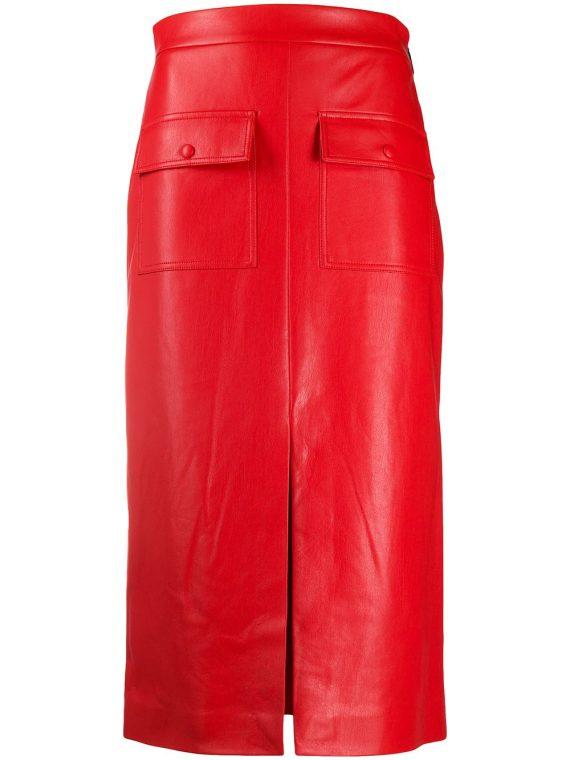 MSGM high-waisted slit skirt - Red - MSGM