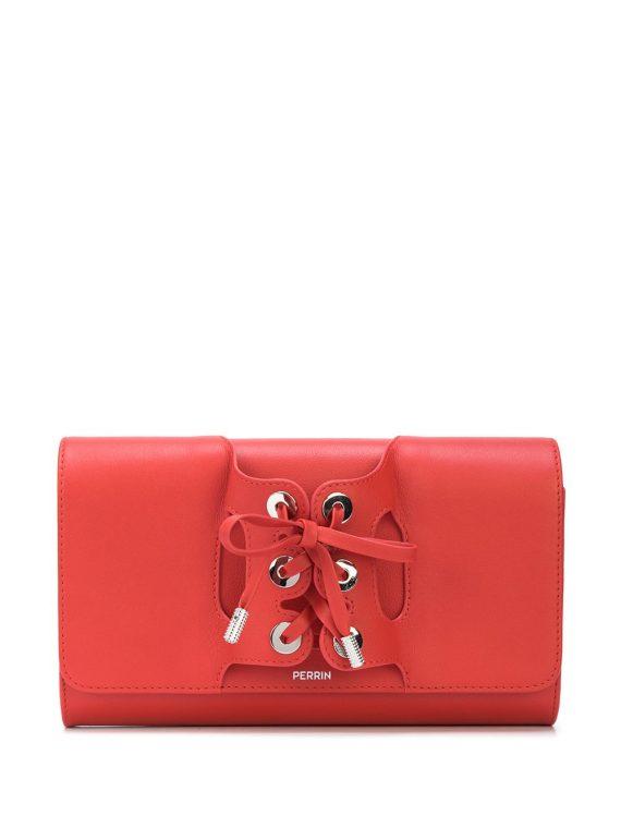 Perrin Paris lace-up detail clutch bag - Red - Perrin Paris