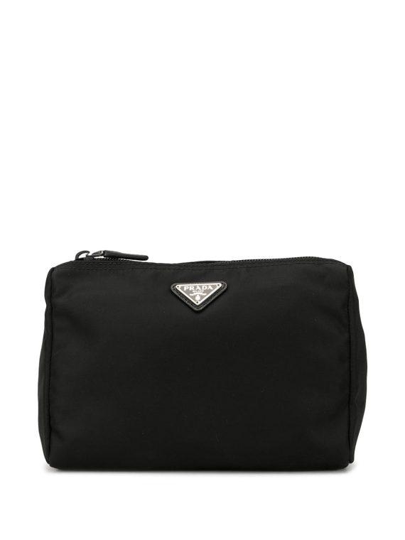Prada Pre-Owned triangular logo cosmetic bag - Black - Prada Pre-Owned