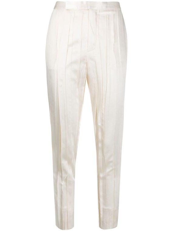 Saint Laurent crinkle-effect tailored trousers - White - Saint Laurent