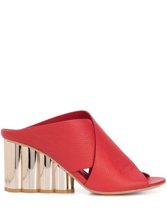 Salvatore Ferragamo flower heel sandals - Red - Salvatore Ferragamo