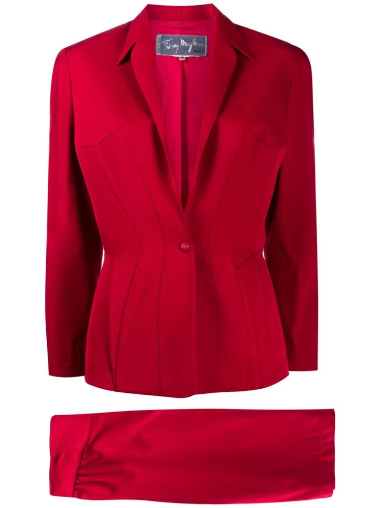Thierry Mugler Pre-Owned slim-fit skirt suit - Red - Thierry Mugler Pre-Owned
