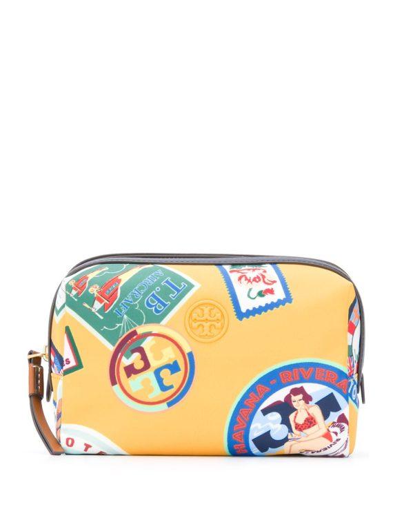 Tory Burch Perry Travel-print cosmetic bag - Yellow - Tory Burch