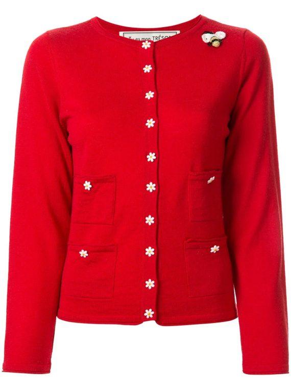 Tu es mon TRÉSOR slim-fit flower-buttons cardigan - Red - Tu es mon TRÉSOR