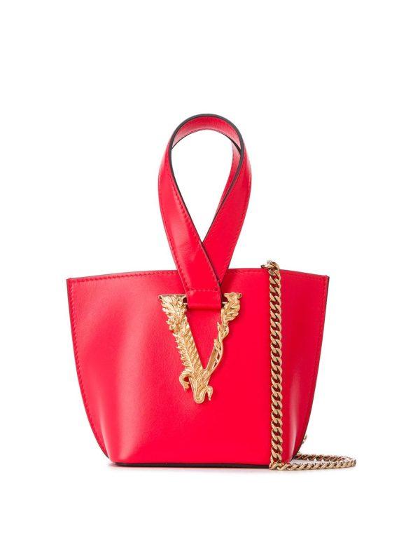 Versace small V-logo tote bag - Red - Versace