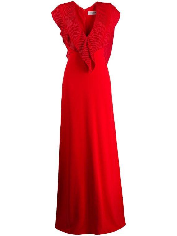 Victoria Beckham pleated V-neck long dress - Red - Victoria Beckham